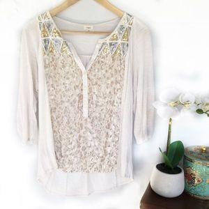 Anthropologie TINY sequin velvet cheetah blouse